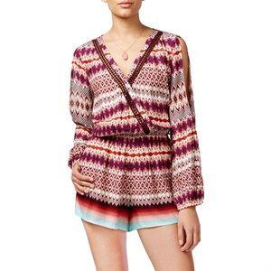 Jessica Simpson Maroon/Purple Crochet-Trim Romper